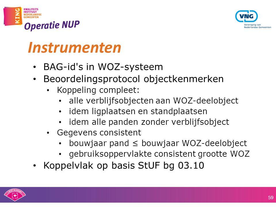 • BAG-id's in WOZ-systeem • Beoordelingsprotocol objectkenmerken • Koppeling compleet: • alle verblijfsobjecten aan WOZ-deelobject • idem ligplaatsen