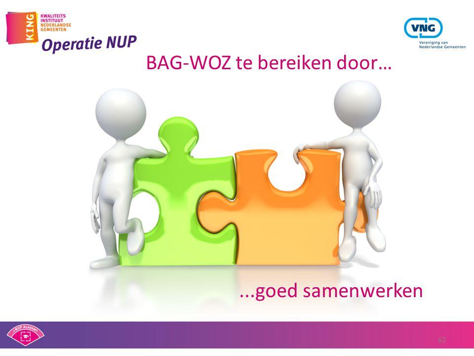 BAG-WOZ te bereiken door…...goed samenwerken 62