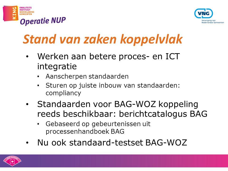 • Werken aan betere proces- en ICT integratie • Aanscherpen standaarden • Sturen op juiste inbouw van standaarden: compliancy • Standaarden voor BAG-W