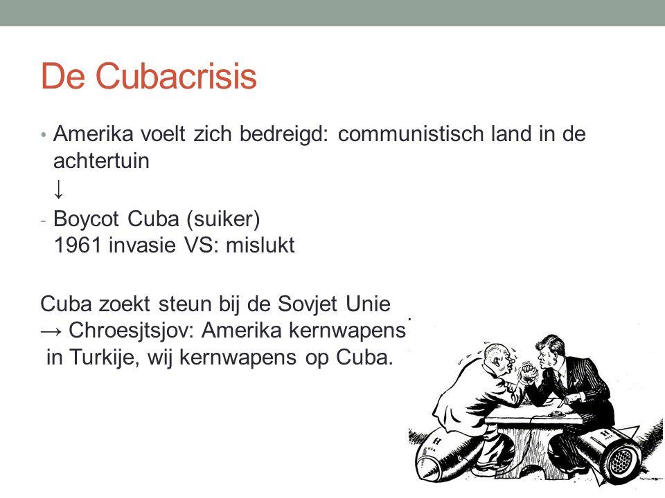 De Cubacrisis • Amerika voelt zich bedreigd: communistisch land in de achtertuin ↓ - Boycot Cuba (suiker) 1961 invasie VS: mislukt Cuba zoekt steun bi