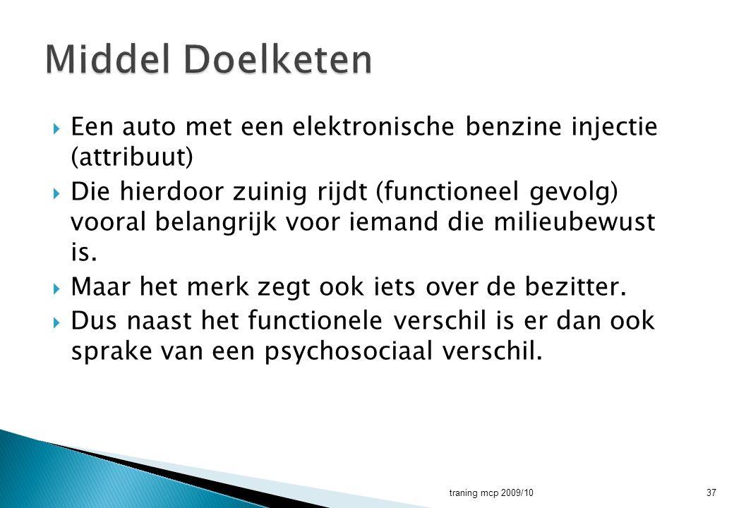  Een auto met een elektronische benzine injectie (attribuut)  Die hierdoor zuinig rijdt (functioneel gevolg) vooral belangrijk voor iemand die milie