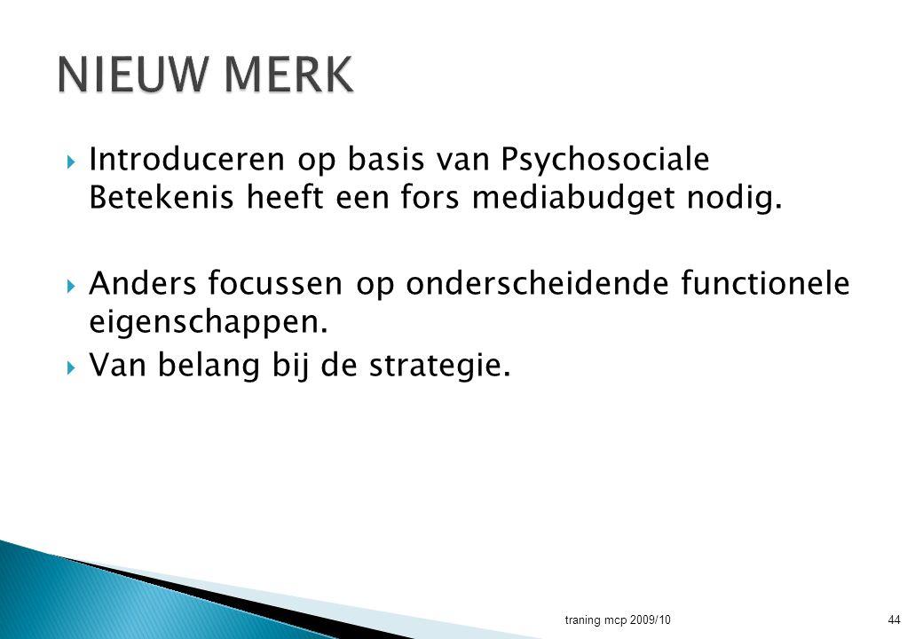  Introduceren op basis van Psychosociale Betekenis heeft een fors mediabudget nodig.  Anders focussen op onderscheidende functionele eigenschappen.