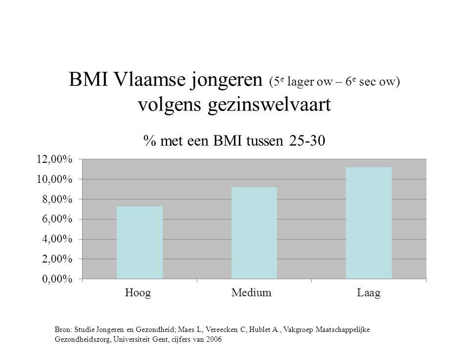 BMI Vlaamse jongeren (5 e lager ow – 6 e sec ow) volgens gezinswelvaart Bron: Studie Jongeren en Gezondheid; Maes L, Vereecken C, Hublet A., Vakgroep Maatschappelijke Gezondheidszorg, Universiteit Gent, cijfers van 2006 % met een BMI tussen 25-30