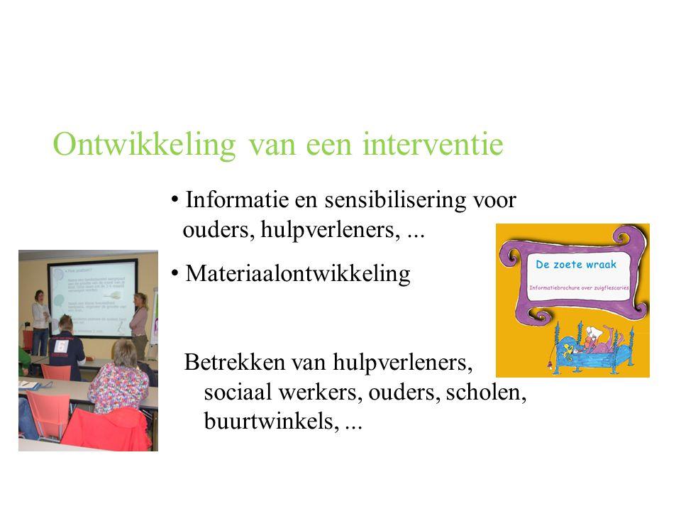 Ontwikkeling van een interventie • Informatie en sensibilisering voor ouders, hulpverleners,...
