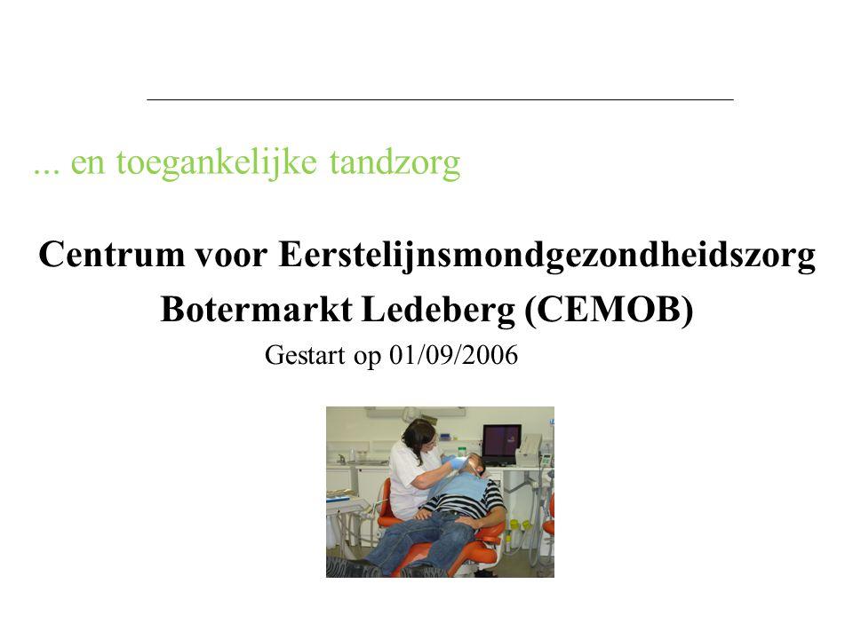 ... en toegankelijke tandzorg Centrum voor Eerstelijnsmondgezondheidszorg Botermarkt Ledeberg (CEMOB) Gestart op 01/09/2006