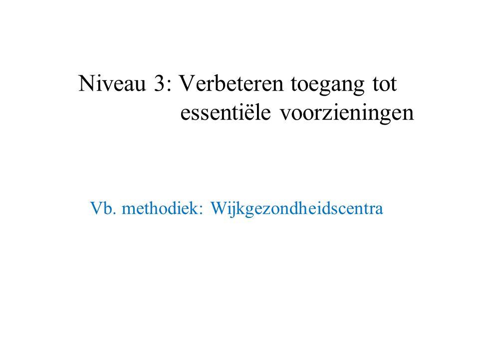 Vb. methodiek: Wijkgezondheidscentra Niveau 3: Verbeteren toegang tot essentiële voorzieningen