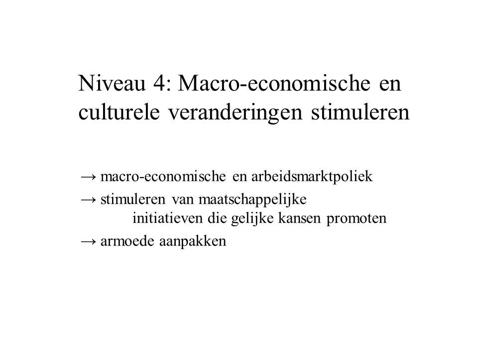→ macro-economische en arbeidsmarktpoliek → stimuleren van maatschappelijke initiatieven die gelijke kansen promoten → armoede aanpakken Niveau 4: Macro-economische en culturele veranderingen stimuleren