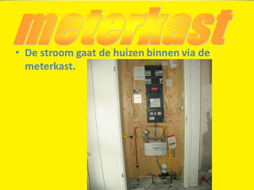 • De stroom gaat de huizen binnen via de meterkast.