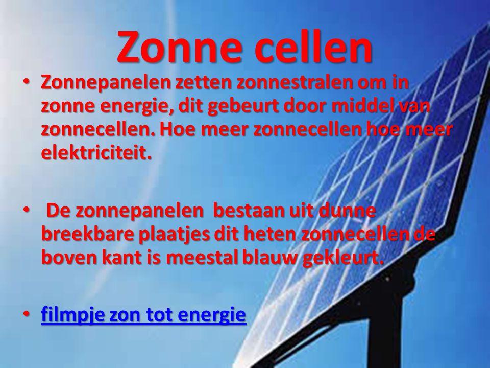 Zonne cellen • Zonnepanelen zetten zonnestralen om in zonne energie, dit gebeurt door middel van zonnecellen. Hoe meer zonnecellen hoe meer elektricit