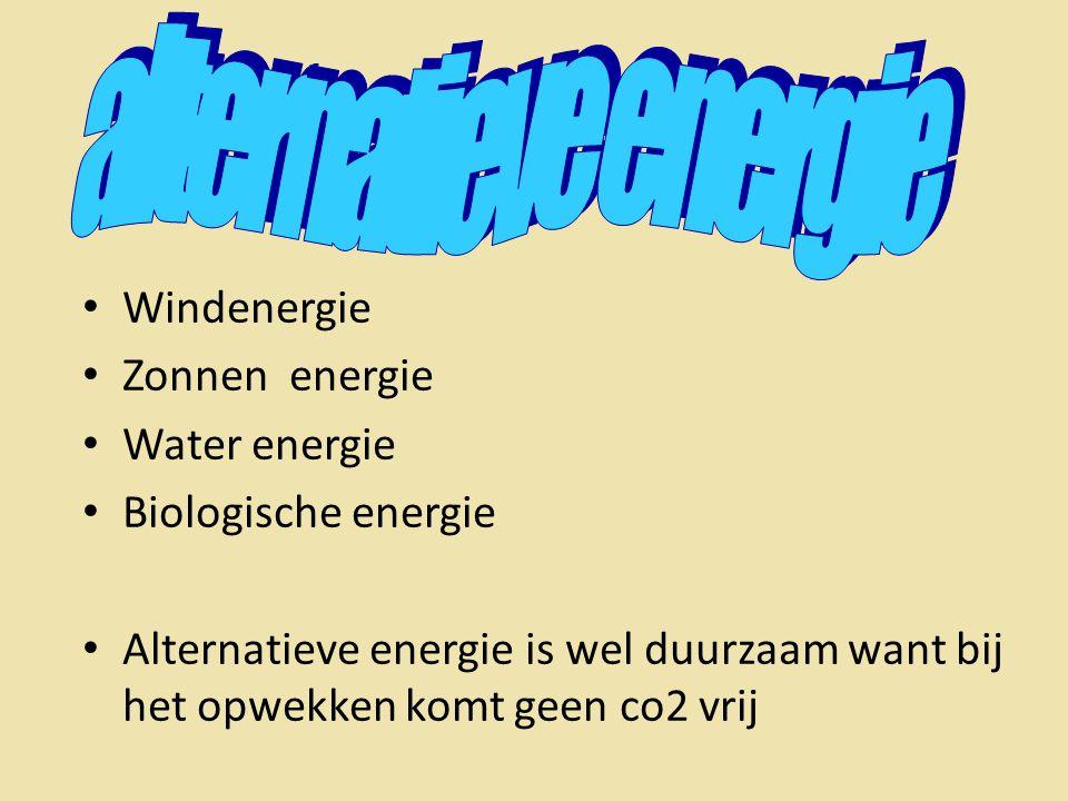 • Windenergie • Zonnen energie • Water energie • Biologische energie • Alternatieve energie is wel duurzaam want bij het opwekken komt geen co2 vrij