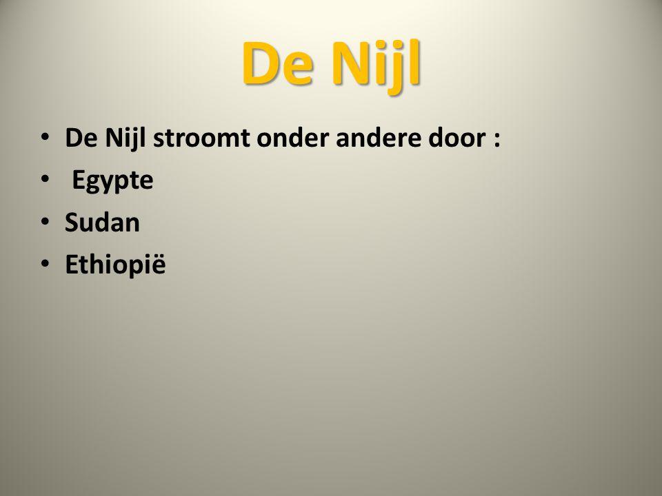 De Nijl • De Nijl stroomt onder andere door : • Egypte • Sudan • Ethiopië