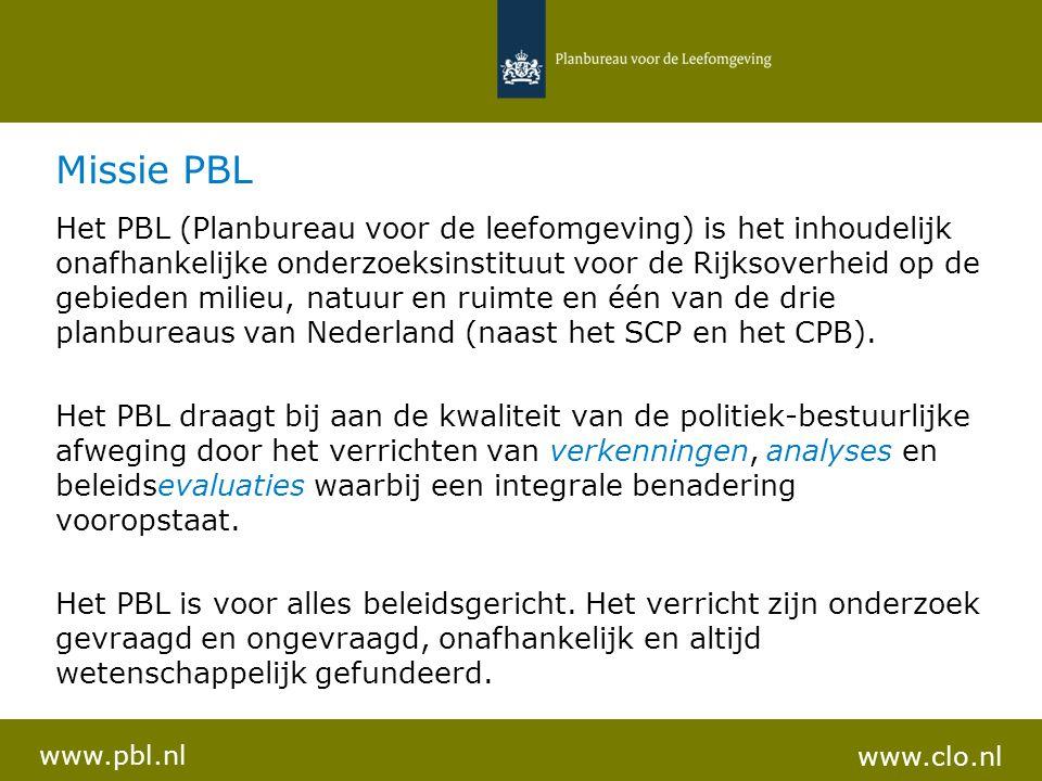 Missie PBL Het PBL (Planbureau voor de leefomgeving) is het inhoudelijk onafhankelijke onderzoeksinstituut voor de Rijksoverheid op de gebieden milieu, natuur en ruimte en één van de drie planbureaus van Nederland (naast het SCP en het CPB).