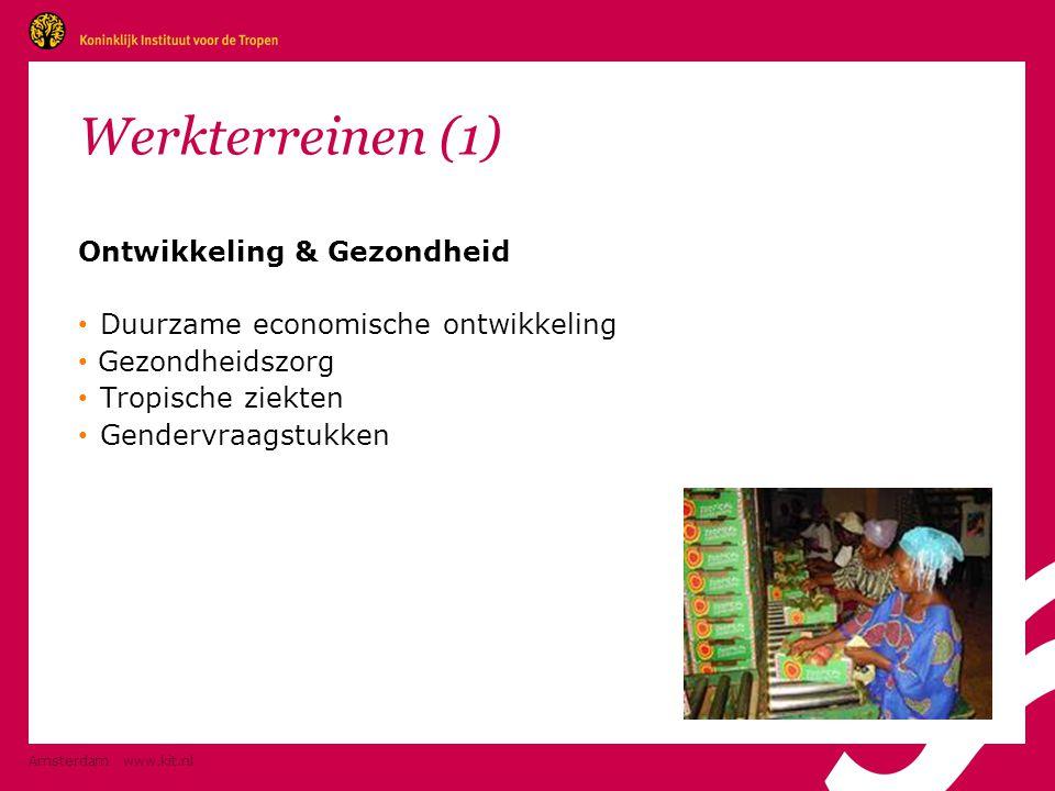 Amsterdam www.kit.nl Informatie & Communicatie (2) Voorbeelden: • Informatievoorziening aan beleidsmakers, wetenschappers en journalisten: per jaar 5.000 bezoekers en 25.000 gebruikers • Advies en training voor opbouw informatiesystemen (Mozambique, Ghana) • Uitgave van boeken over internationale samenwerking en cultuur: 75-100 boeken per jaar