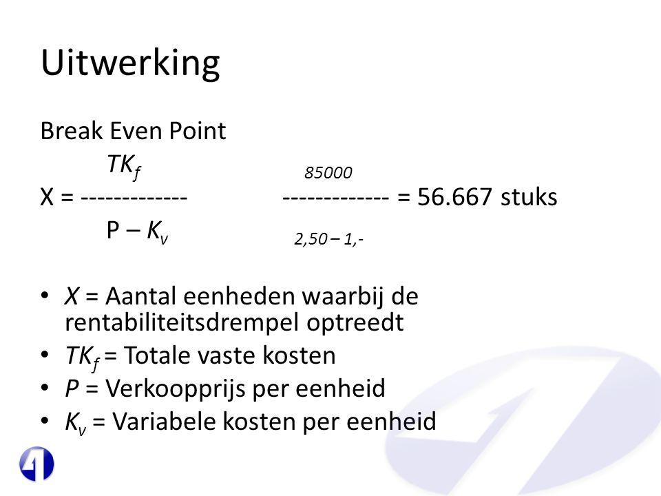 Uitwerking Break Even Point TK f 85000 X = ------------- ------------- = 56.667 stuks P – K v 2,50 – 1,- • X = Aantal eenheden waarbij de rentabilitei