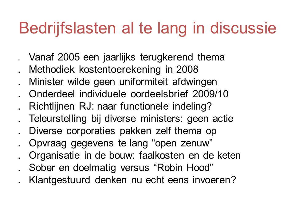 Bedrijfslasten al te lang in discussie. Vanaf 2005 een jaarlijks terugkerend thema.Methodiek kostentoerekening in 2008.Minister wilde geen uniformitei