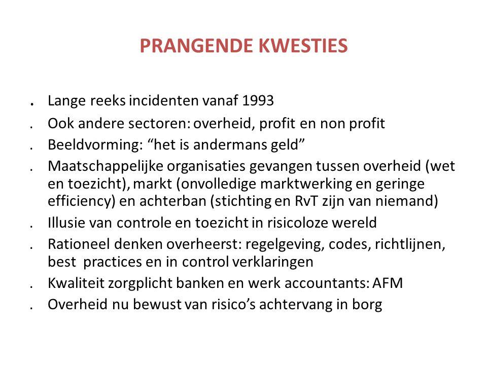 """PRANGENDE KWESTIES. Lange reeks incidenten vanaf 1993.Ook andere sectoren: overheid, profit en non profit.Beeldvorming: """"het is andermans geld"""".Maatsc"""