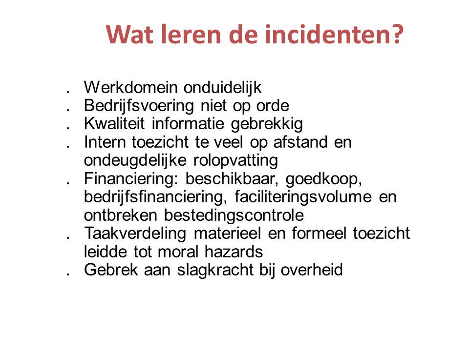 Wat leren de incidenten?.Werkdomein onduidelijk.Bedrijfsvoering niet op orde.Kwaliteit informatie gebrekkig.Intern toezicht te veel op afstand en onde
