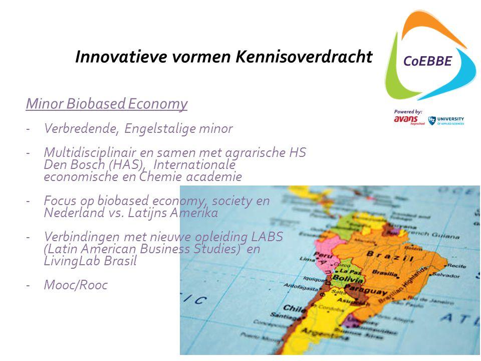 Innovatieve vormen Kennisoverdracht Minor Biobased Economy -Verbredende, Engelstalige minor -Multidisciplinair en samen met agrarische HS Den Bosch (H