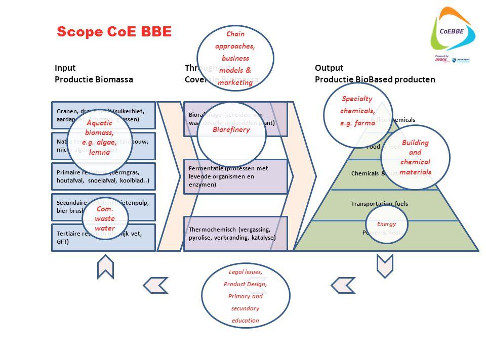 Tertiaire residuen (dierlijk vet, GFT) Secundaire residuen (bietenpulp, bier brush) Primaire residuen (bermgras, houtafval, snoeiafval, koolblad..) Granen, droge teelt (suikerbiet, aardappel, koolzaad, grassen) Natte teelt (zoutwaterlandbouw, micro-algen, zeewier) Input Productie Biomassa Throughput Coversie Biomassa Output Productie BioBased producten Bioraffinage (scheiden van waardevolle onderdelen plant) Fermentatie (processen met levende organismen en enzymen) Thermochemisch (vergassing, pyrolise, verbranding, katalyse) Farma & fine chemicals Food & feed Chemicals & materials Transportation fuels Power & heats Scope CoE BBE Aquatic biomass, e.g.