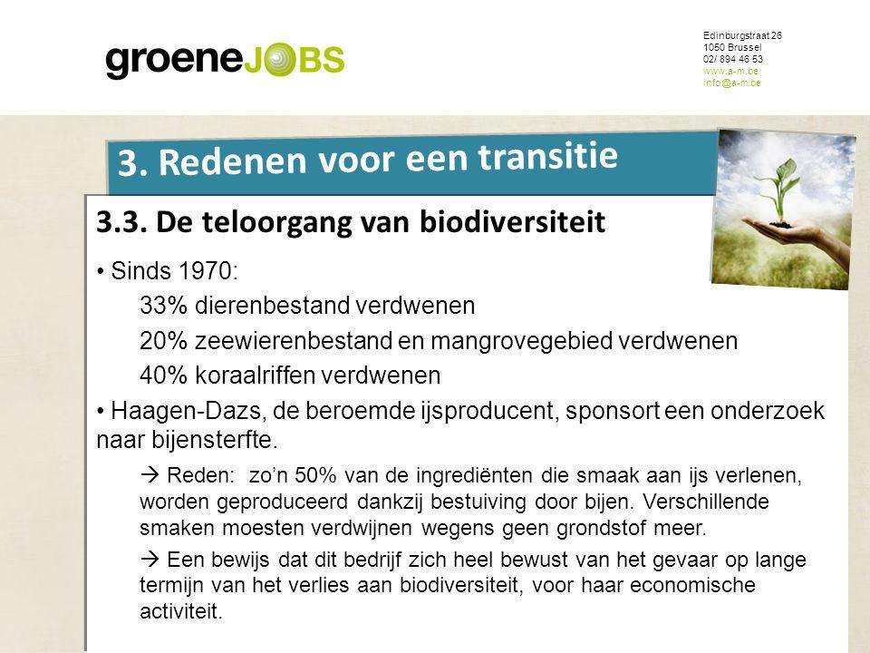 ONDERWERP Edinburgstraat 26 1050 Brussel 02/ 894 46 53 www.a-m.be info@a-m.be 3. Redenen voor een transitie 3.3. De teloorgang van biodiversiteit • Si