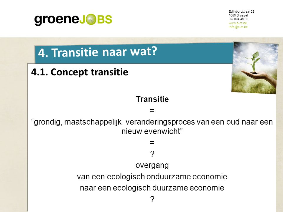 "ONDERWERP Edinburgstraat 26 1050 Brussel 02/ 894 46 53 www.a-m.be info@a-m.be 4. Transitie naar wat? 4.1. Concept transitie Transitie = ""grondig, maat"