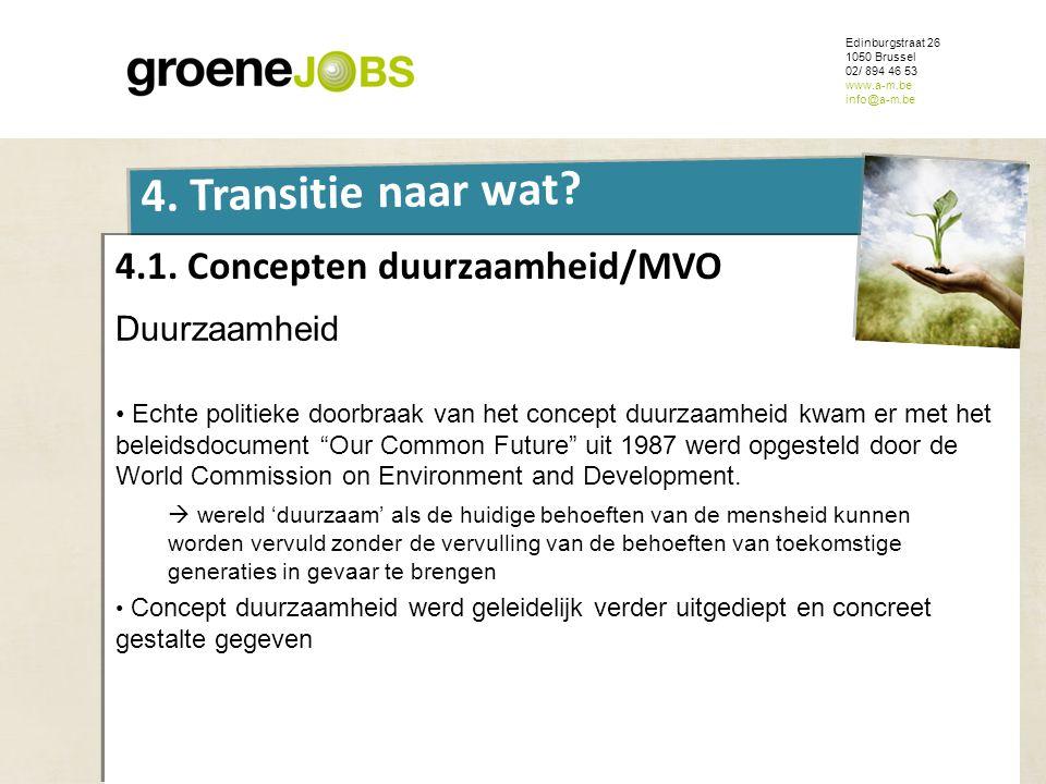 ONDERWERP Edinburgstraat 26 1050 Brussel 02/ 894 46 53 www.a-m.be info@a-m.be 4. Transitie naar wat? 4.1. Concepten duurzaamheid/MVO Duurzaamheid • Ec