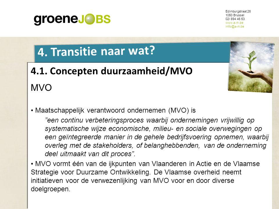 ONDERWERP Edinburgstraat 26 1050 Brussel 02/ 894 46 53 www.a-m.be info@a-m.be 4. Transitie naar wat? 4.1. Concepten duurzaamheid/MVO MVO • Maatschappe