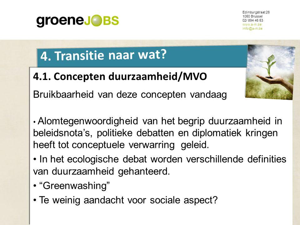 ONDERWERP Edinburgstraat 26 1050 Brussel 02/ 894 46 53 www.a-m.be info@a-m.be 4. Transitie naar wat? 4.1. Concepten duurzaamheid/MVO Bruikbaarheid van