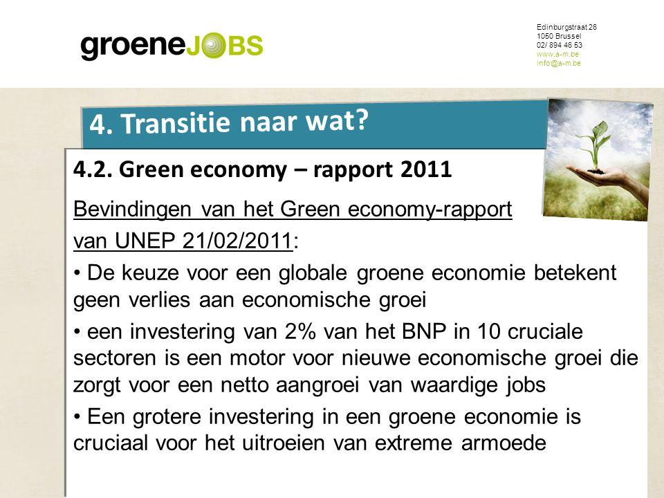 ONDERWERP Edinburgstraat 26 1050 Brussel 02/ 894 46 53 www.a-m.be info@a-m.be 4. Transitie naar wat? 4.2. Green economy – rapport 2011 Bevindingen van