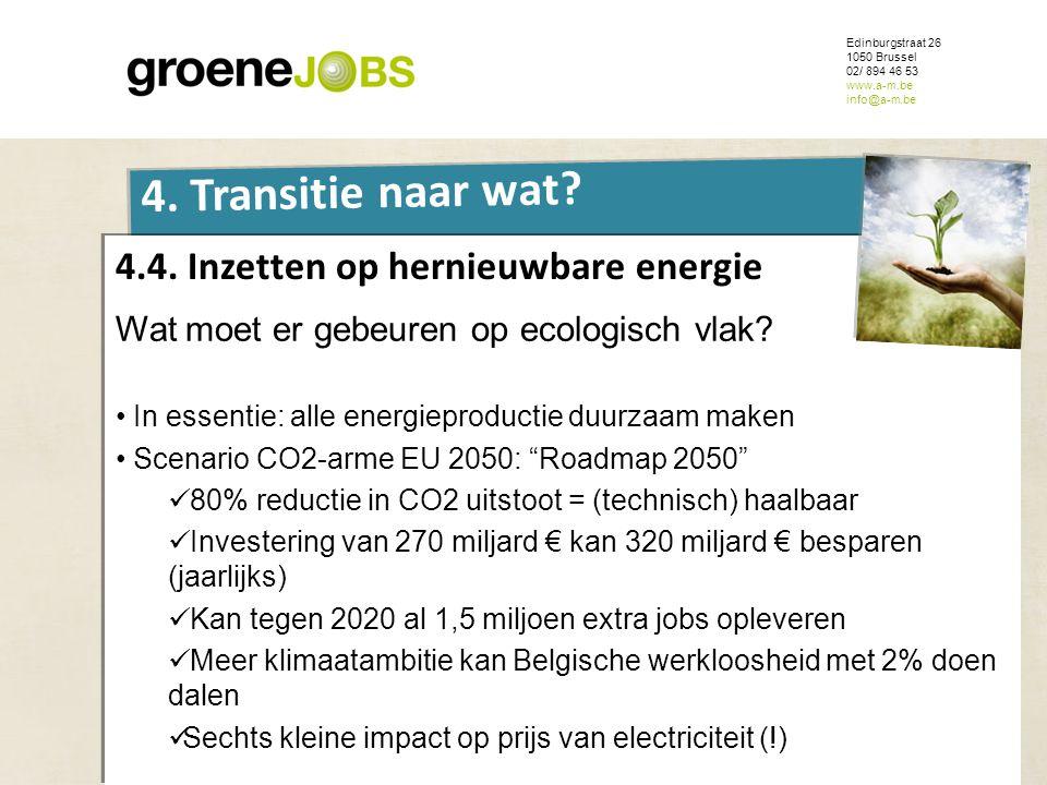 ONDERWERP Edinburgstraat 26 1050 Brussel 02/ 894 46 53 www.a-m.be info@a-m.be 4. Transitie naar wat? 4.4. Inzetten op hernieuwbare energie Wat moet er
