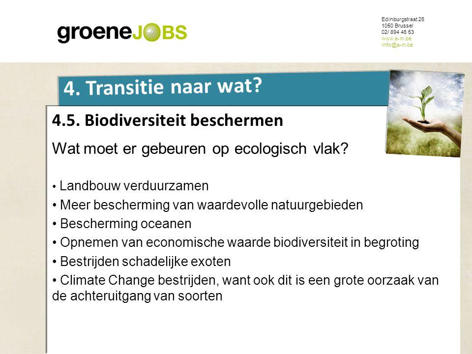 ONDERWERP Edinburgstraat 26 1050 Brussel 02/ 894 46 53 www.a-m.be info@a-m.be 4. Transitie naar wat? 4.5. Biodiversiteit beschermen Wat moet er gebeur