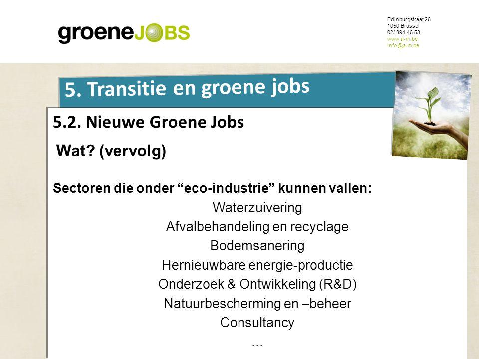 ONDERWERP Edinburgstraat 26 1050 Brussel 02/ 894 46 53 www.a-m.be info@a-m.be 5. Transitie en groene jobs 5.2. Nieuwe Groene Jobs Wat? (vervolg) Secto