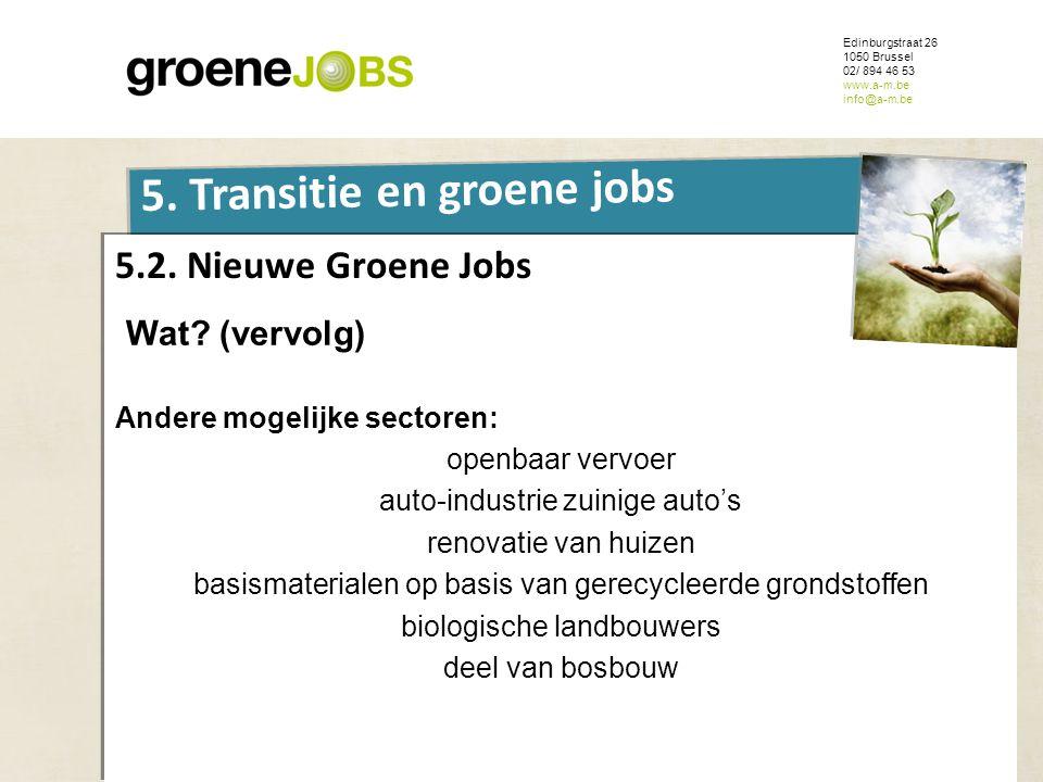 ONDERWERP Edinburgstraat 26 1050 Brussel 02/ 894 46 53 www.a-m.be info@a-m.be 5. Transitie en groene jobs 5.2. Nieuwe Groene Jobs Wat? (vervolg) Ander