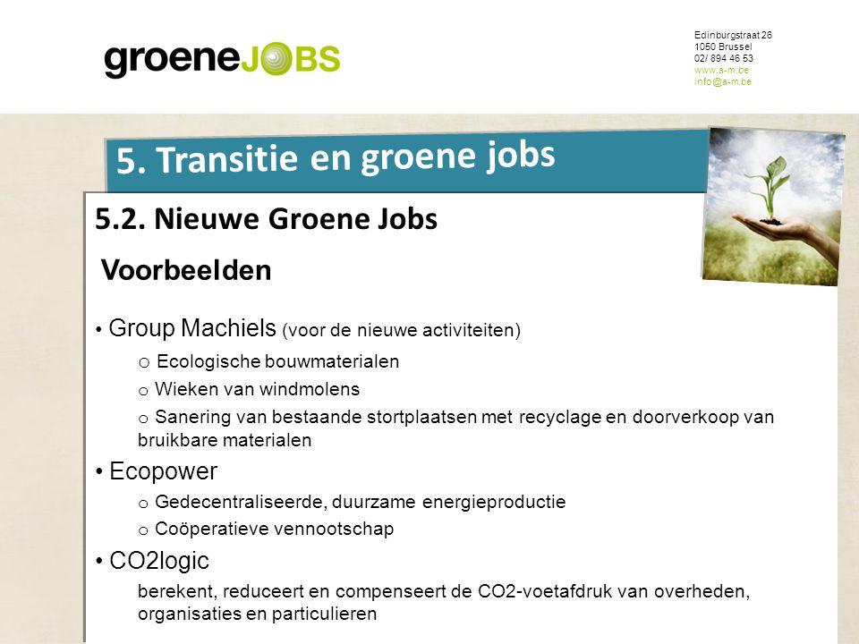 ONDERWERP Edinburgstraat 26 1050 Brussel 02/ 894 46 53 www.a-m.be info@a-m.be 5. Transitie en groene jobs 5.2. Nieuwe Groene Jobs Voorbeelden • Group