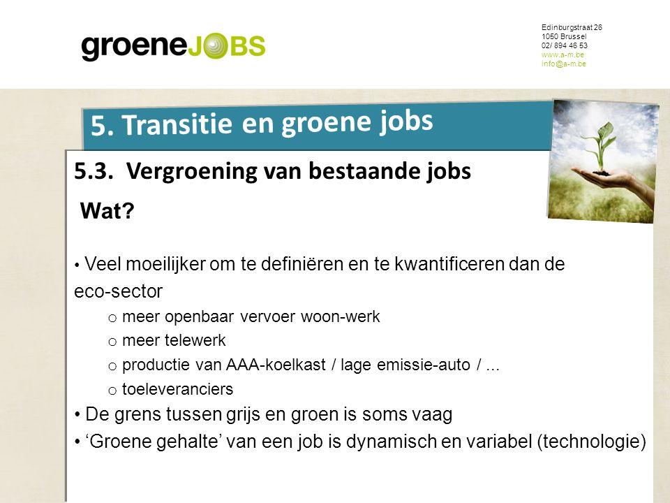 ONDERWERP Edinburgstraat 26 1050 Brussel 02/ 894 46 53 www.a-m.be info@a-m.be 5. Transitie en groene jobs 5.3. Vergroening van bestaande jobs Wat? • V