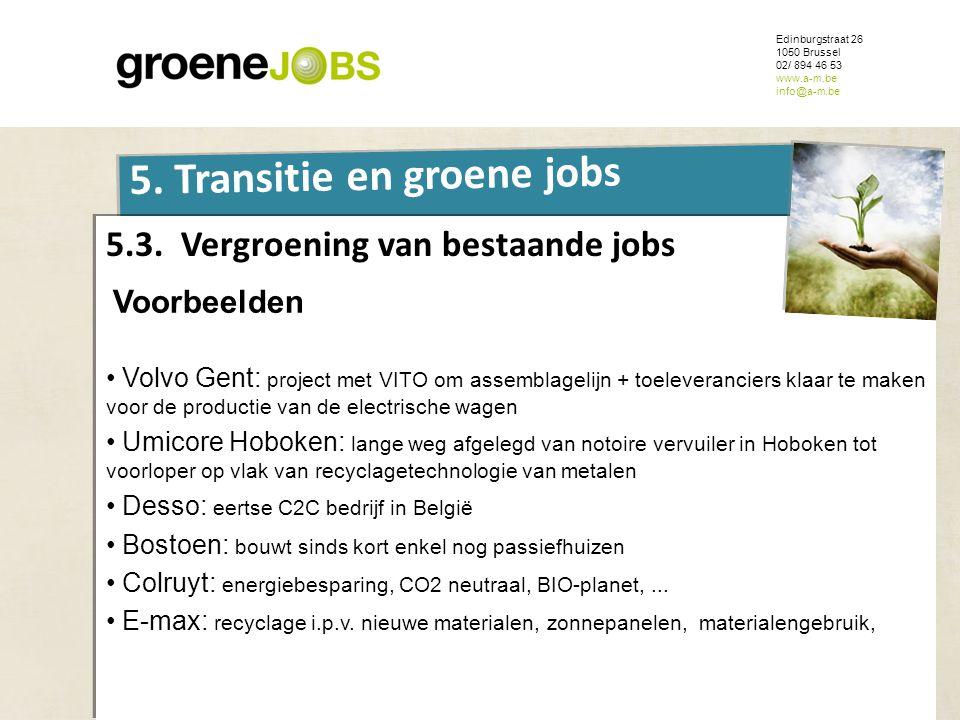 ONDERWERP Edinburgstraat 26 1050 Brussel 02/ 894 46 53 www.a-m.be info@a-m.be 5. Transitie en groene jobs 5.3. Vergroening van bestaande jobs Voorbeel