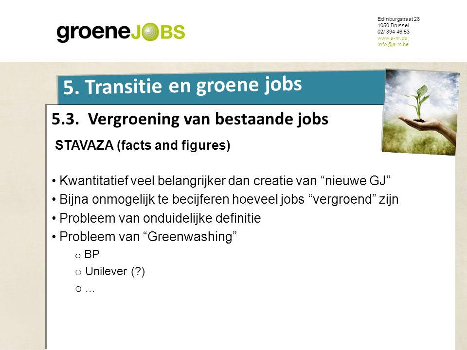 ONDERWERP Edinburgstraat 26 1050 Brussel 02/ 894 46 53 www.a-m.be info@a-m.be 5. Transitie en groene jobs 5.3. Vergroening van bestaande jobs STAVAZA