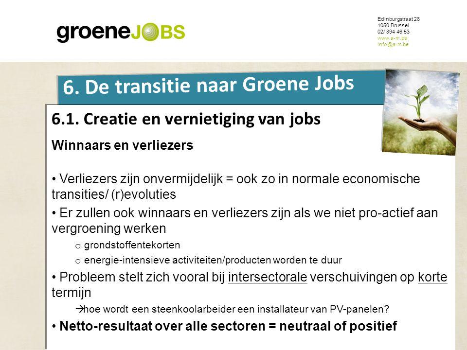 ONDERWERP Edinburgstraat 26 1050 Brussel 02/ 894 46 53 www.a-m.be info@a-m.be 6. De transitie naar Groene Jobs 6.1. Creatie en vernietiging van jobs W