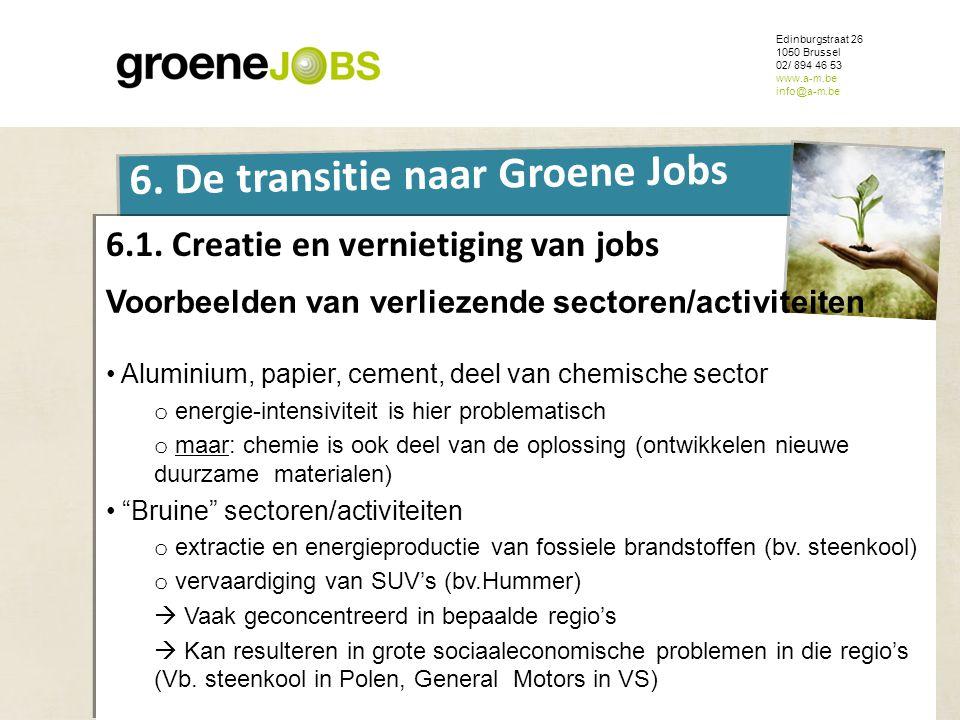 ONDERWERP Edinburgstraat 26 1050 Brussel 02/ 894 46 53 www.a-m.be info@a-m.be 6. De transitie naar Groene Jobs 6.1. Creatie en vernietiging van jobs V