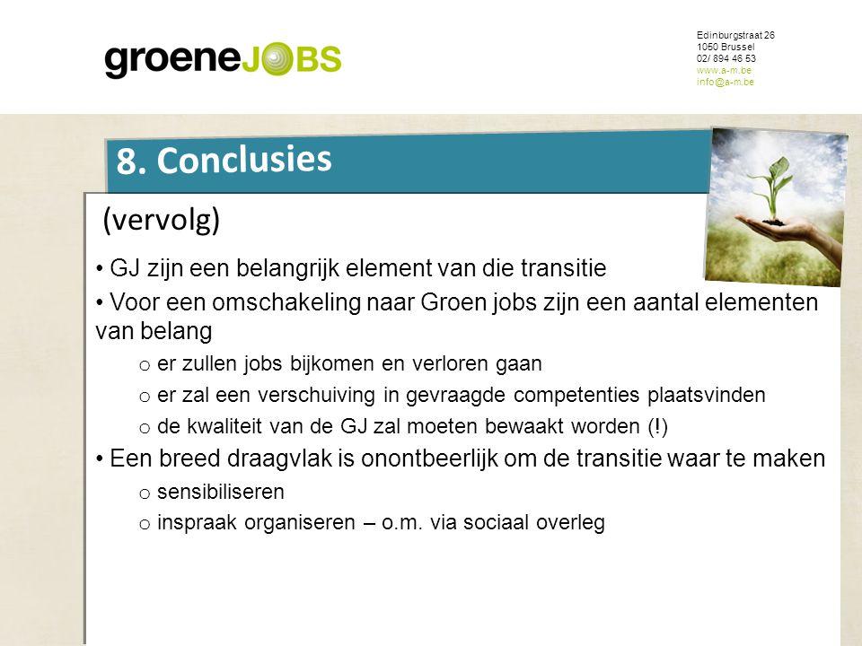 ONDERWERP Edinburgstraat 26 1050 Brussel 02/ 894 46 53 www.a-m.be info@a-m.be 8. Conclusies (vervolg) • GJ zijn een belangrijk element van die transit