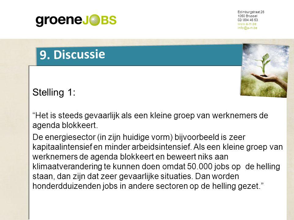 """ONDERWERP Edinburgstraat 26 1050 Brussel 02/ 894 46 53 www.a-m.be info@a-m.be 9. Discussie Stelling 1: """"Het is steeds gevaarlijk als een kleine groep"""