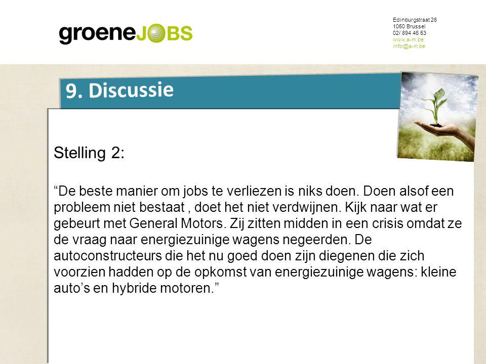 """ONDERWERP Edinburgstraat 26 1050 Brussel 02/ 894 46 53 www.a-m.be info@a-m.be 9. Discussie Stelling 2: """"De beste manier om jobs te verliezen is niks d"""