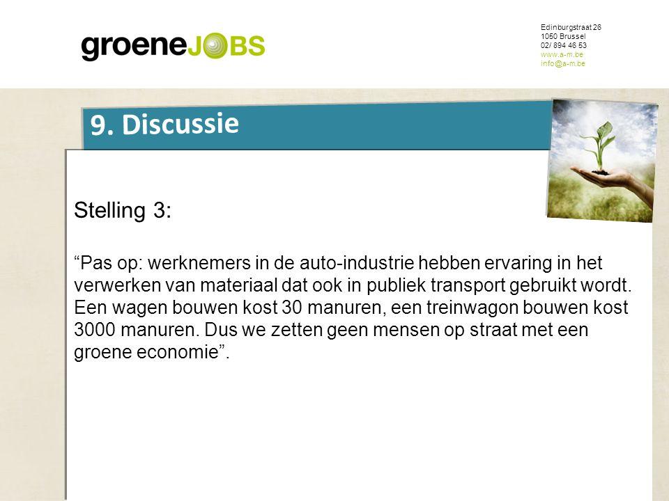 """ONDERWERP Edinburgstraat 26 1050 Brussel 02/ 894 46 53 www.a-m.be info@a-m.be 9. Discussie Stelling 3: """"Pas op: werknemers in de auto-industrie hebben"""