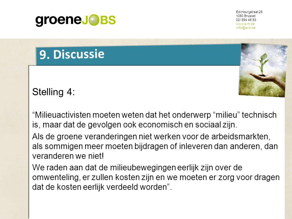 """ONDERWERP Edinburgstraat 26 1050 Brussel 02/ 894 46 53 www.a-m.be info@a-m.be 9. Discussie Stelling 4: """"Milieuactivisten moeten weten dat het onderwer"""