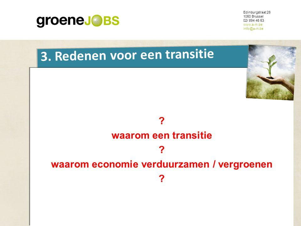 ONDERWERP Edinburgstraat 26 1050 Brussel 02/ 894 46 53 www.a-m.be info@a-m.be 3. Redenen voor een transitie ? waarom een transitie ? waarom economie v