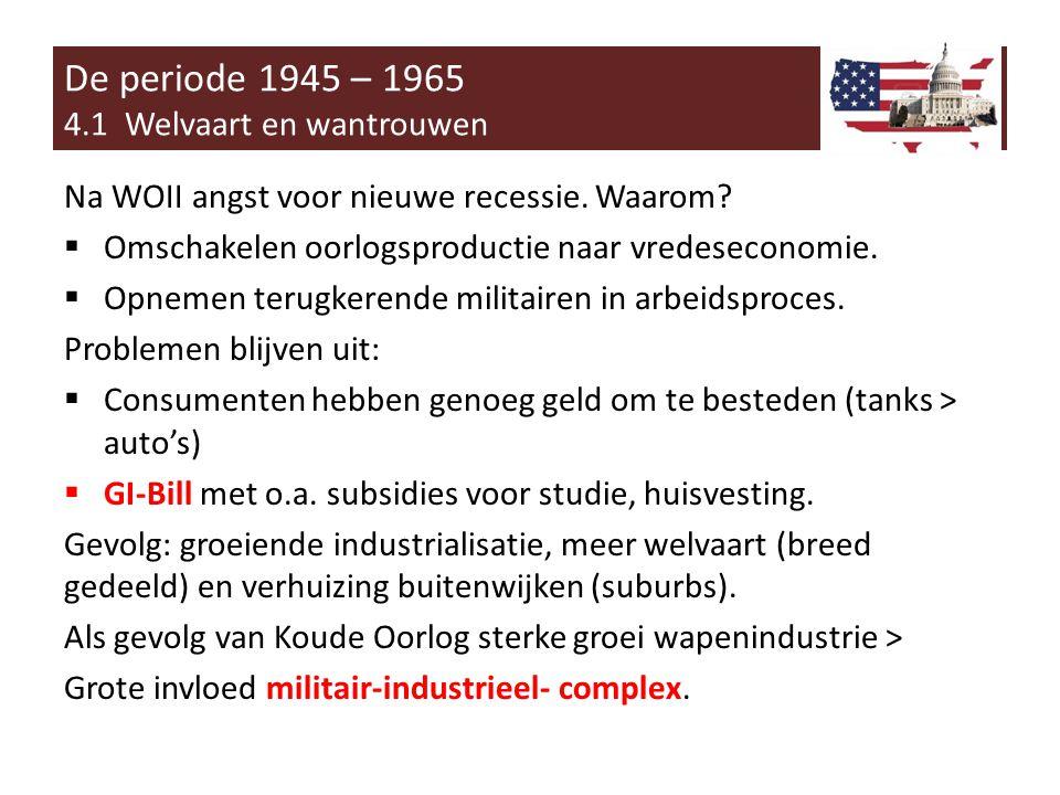 Na WOII angst voor nieuwe recessie.Waarom.  Omschakelen oorlogsproductie naar vredeseconomie.
