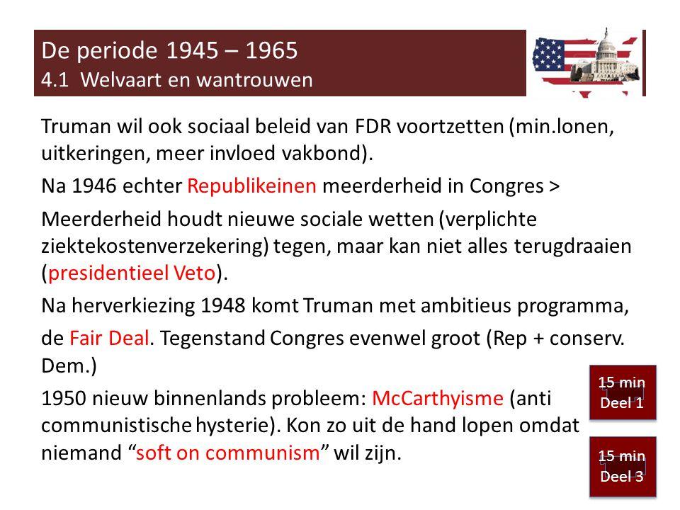 Truman wil ook sociaal beleid van FDR voortzetten (min.lonen, uitkeringen, meer invloed vakbond).
