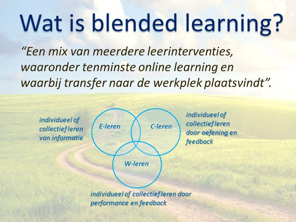 E-lerenC-leren W-leren Een mix van meerdere leerinterventies, waaronder tenminste online learning en waarbij transfer naar de werkplek plaatsvindt .