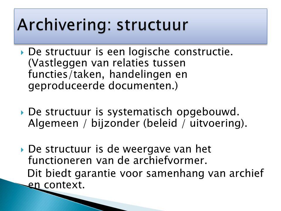  De structuur is een logische constructie. (Vastleggen van relaties tussen functies/taken, handelingen en geproduceerde documenten.)  De structuur i