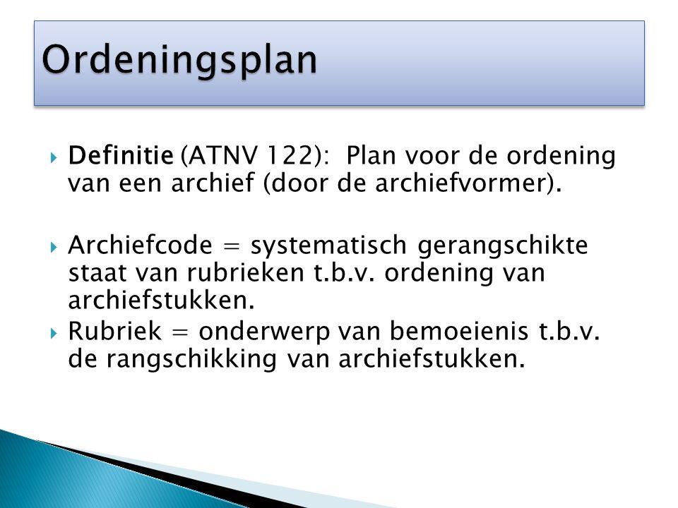  Definitie (ATNV 122): Plan voor de ordening van een archief (door de archiefvormer).  Archiefcode = systematisch gerangschikte staat van rubrieken